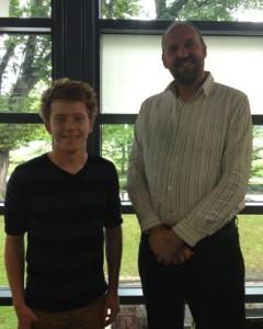Managing Director Richard May, with student Sam Weatherhead