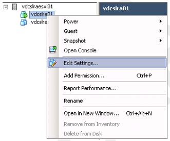 VMware edit settings