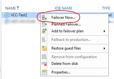veeam cloud connect - partial failover