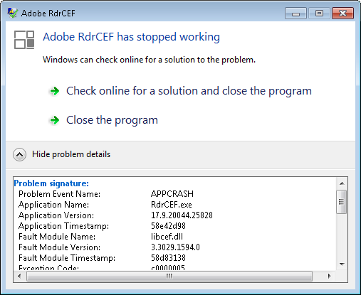 Adobe Acrobat Reader DC - RdrCEF has stopped working