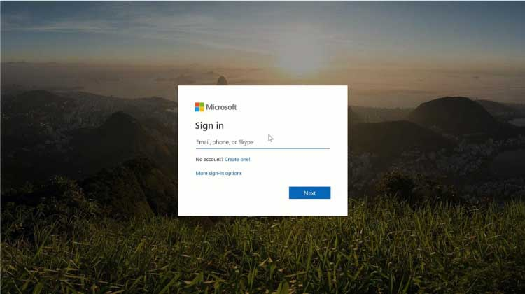 Microsoft spoof phishing attack landing page