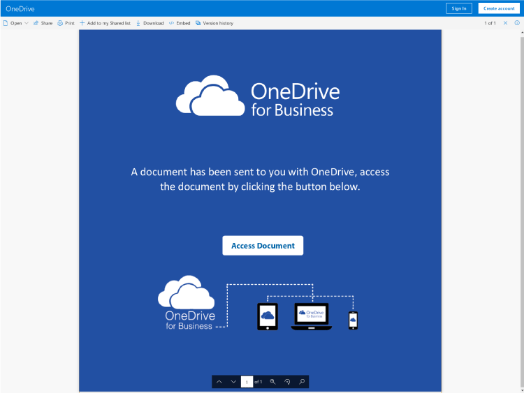 OneDrive spoof Phishing attack email