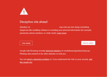 Phishing attack website warning