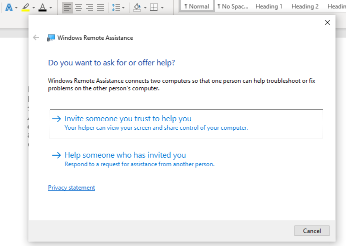 How to send a Remote Assistance Invitation: Help options