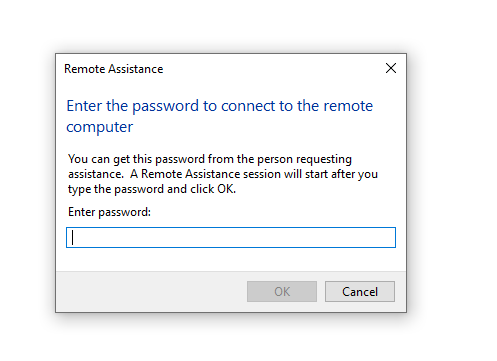 How to send a Remote Assistance Invitation - enter password