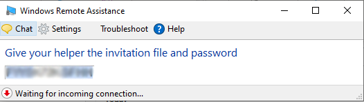 Windows Remote assistance guide - give your helper the password
