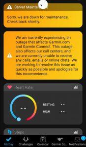 Screenshot of Garmin service outage message